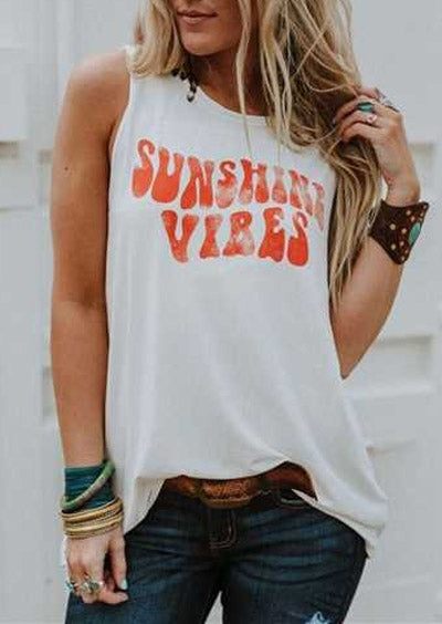 Nostalgia Fashion Women Tank Top Summer Sleeveless Female t shirt Sunshine Vibes - Nostalgiastyles Clothing Store Co.