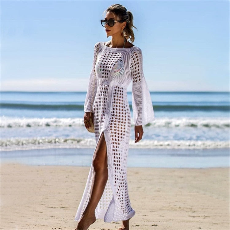 2019 Nostalgia boho summer hippie  hollow out maxi dress white knit - Nostalgiastyles Clothing Store Co.