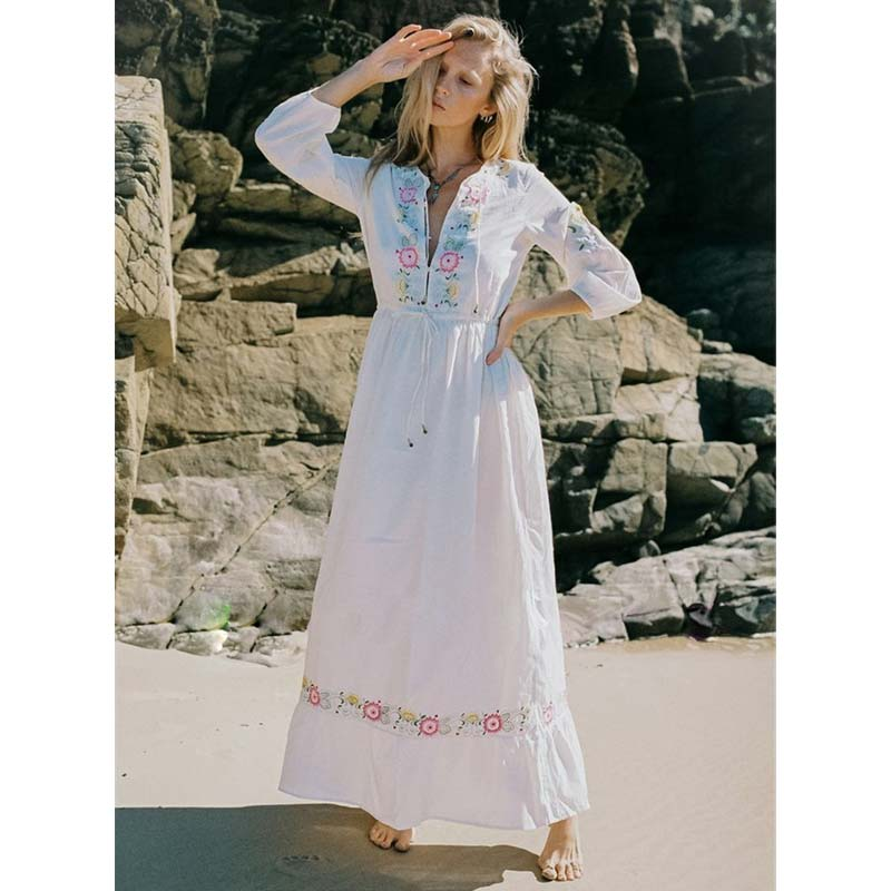 2019 Nostalgia Styles Boho gypsy  White Dress - Nostalgiastyles Clothing Store Co.