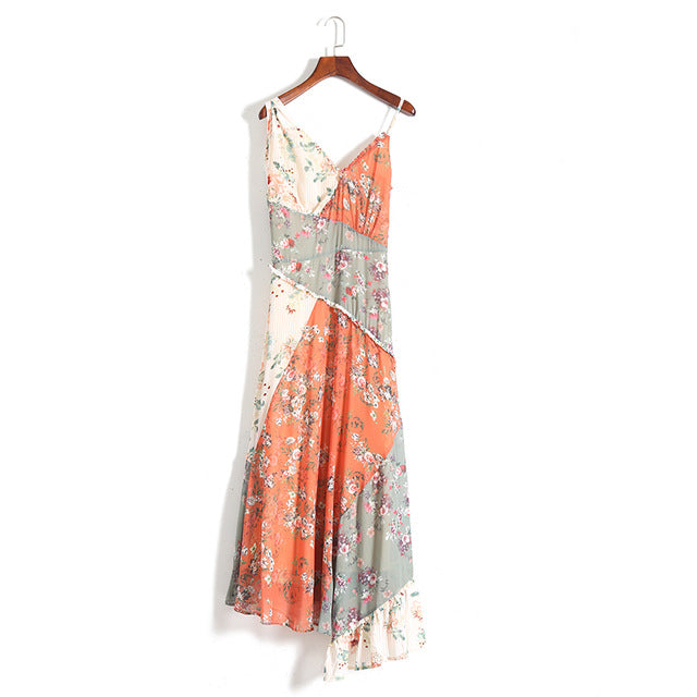2019 Nostalgia Bohemian HIPPIE BOHO  Spring Floral Print V-neck dress - Nostalgiastyles Clothing Store Co.