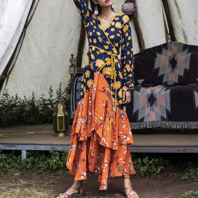 2019 Nostalgia BOHO HIPPIE Split Hem Floral Print Long Dress - Nostalgiastyles Clothing Store Co.