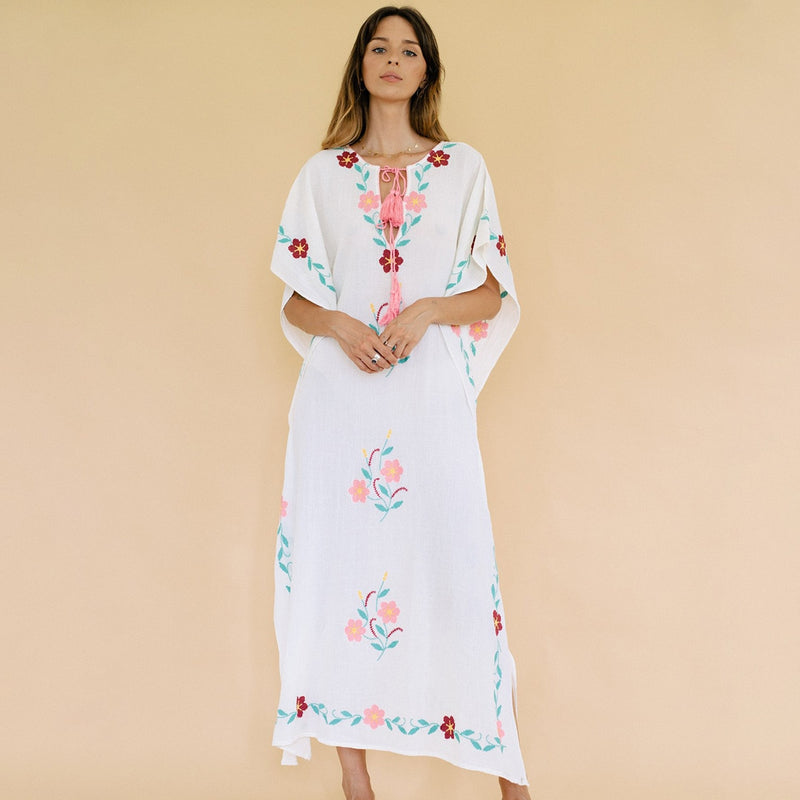 2019 Nostalgia Tassel Embroidery Long Dress Women Summer Side Split V neck - Nostalgiastyles Clothing Store Co.