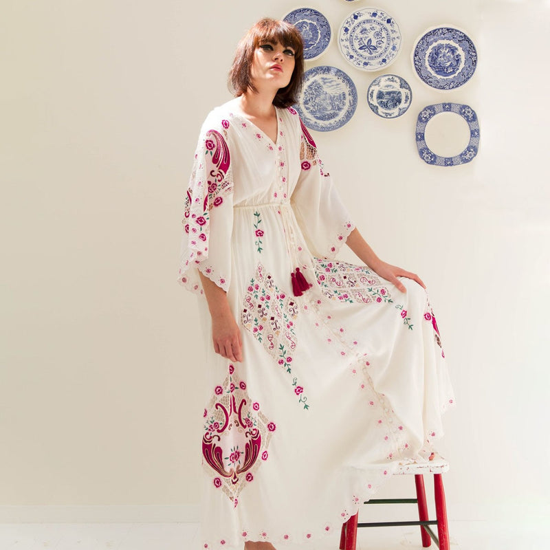 2019 Nostalgia Ethnic Embroidery Maxi Dress Women - Nostalgiastyles Clothing Store Co.
