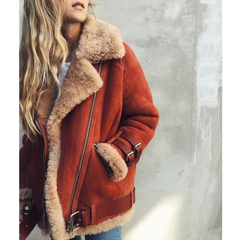 Nostalgia Boho Winter Leather Suede Lamb Fur Jacket Coat