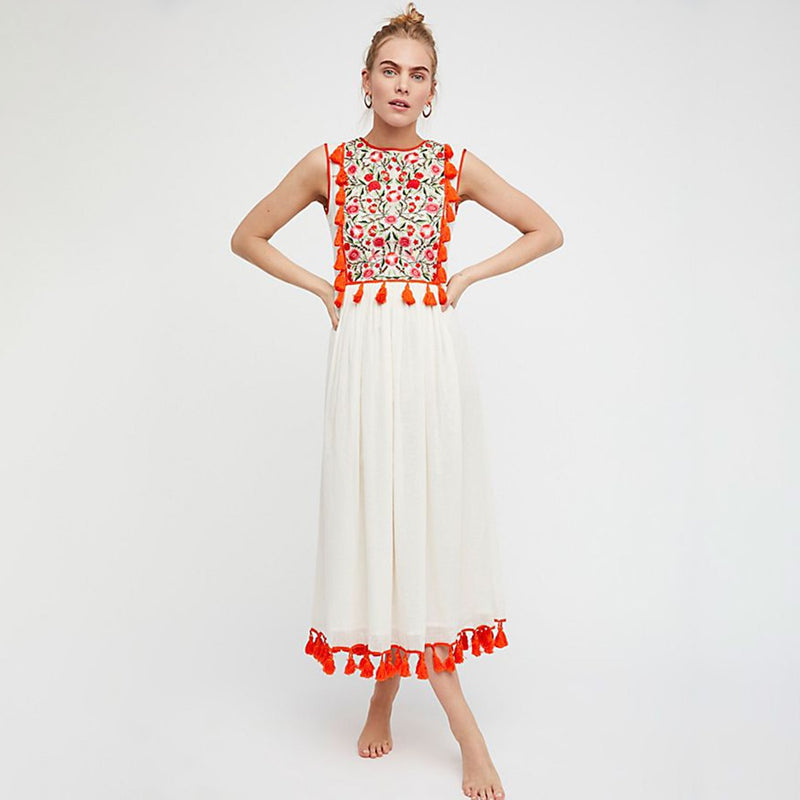 2019 Nostalgia Embroidery White Maxi Dress - Nostalgiastyles Clothing Store Co.