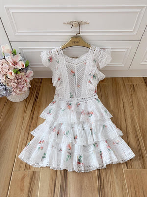 Nostalgia Styles High Quality Elegant White Lace Floral Printed Mini Dress