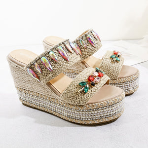 Nostalgia Boho 10cm Heel Platform Wedges Slippers Summer Bohemian Shoes
