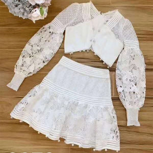 Nostalgia Boho Gorgeous 2 Pieces Sets Long Sleeve Wome Top & Skirt - Nostalgiastyles Clothing Store Co.