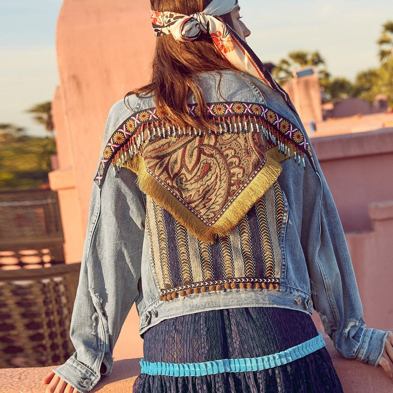 Nostalgia Boho Jacket Women Cotton Loose Light Blue Denim