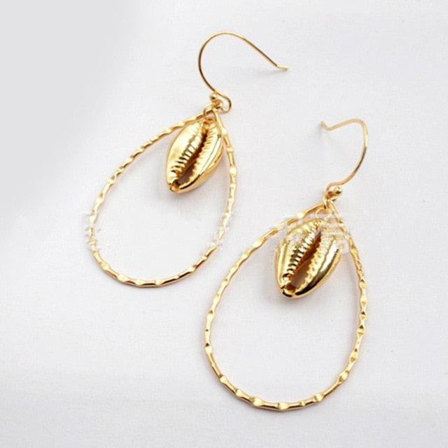 Nostalgia HQGold Plating Shell Earrings natural seashell pendant dipped in gold plating - Nostalgiastyles Clothing Store Co.