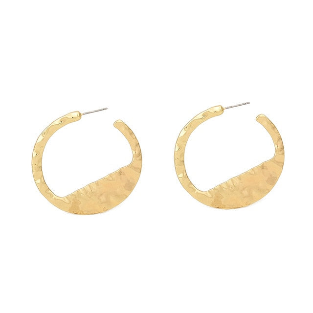 Nostalgia Styles Semicircle Stud Earrings Women Jewelry Gold Silver