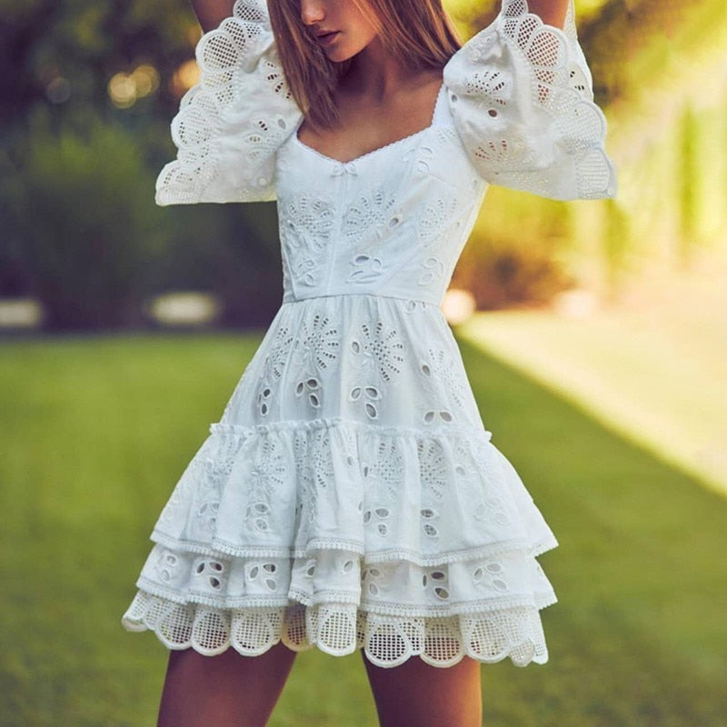 Nostalgia Boho Casual Solid  Short Sleeve High Waist High Quality