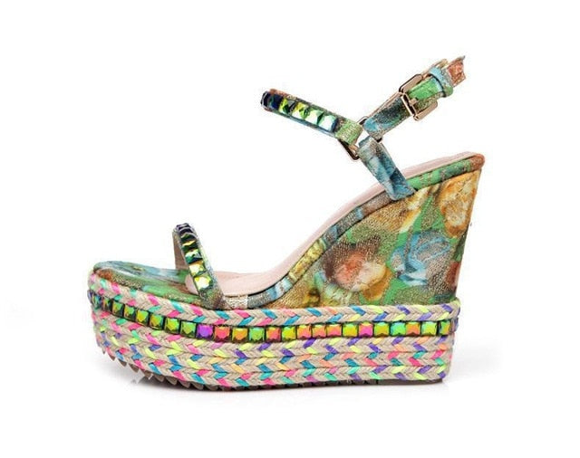 Nostalgia  Boho Spectacular New Arrival Sandals For Summer Wedge Sandals High Heels - Nostalgiastyles Clothing Store Co.