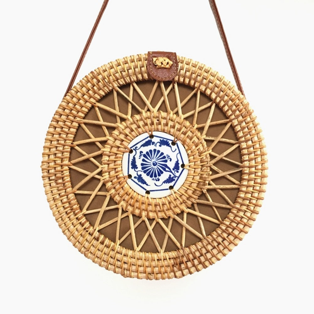 Nostalgia Bohemian Rattan  Summer Beach Shoulder Bag Ceramics Circle Bali
