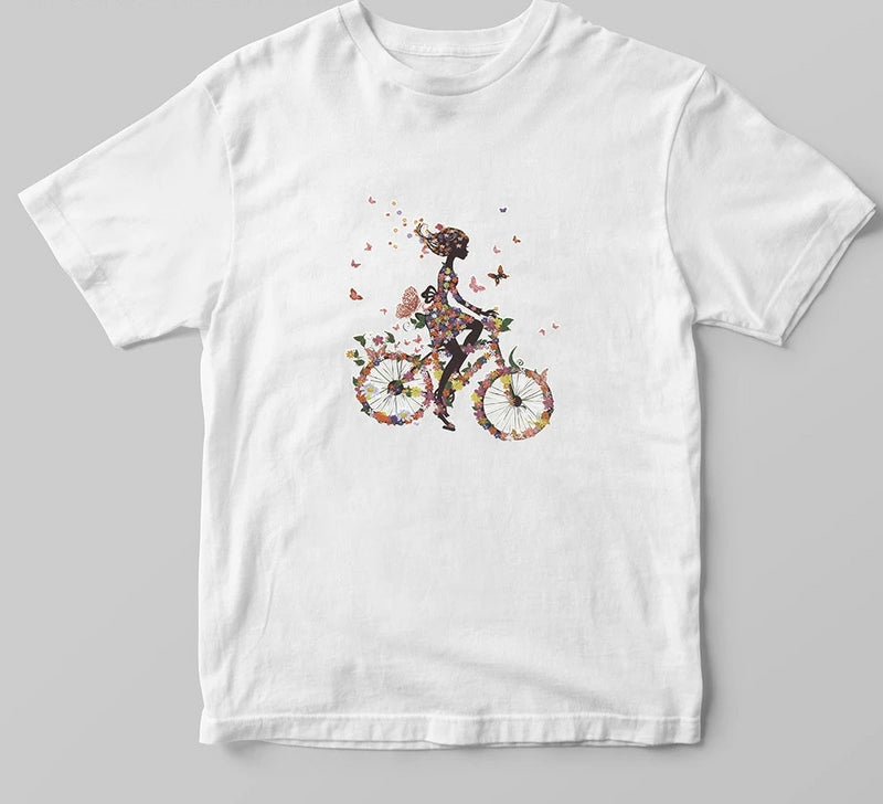 Nostalgia Boho  Flower Bicycle Girl Female Print T-shirt