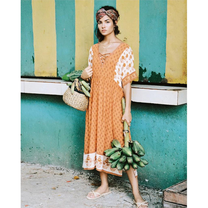 Nostalgia Boho Play Dress Lace Up V-Neck Floral print Boho Dress