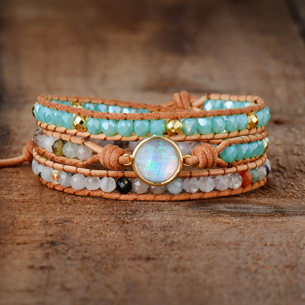 Nostalgia Boho Women Bracelets Natural Opal Stone Rhinestone 3 Rows Leather Wrap Bracelet