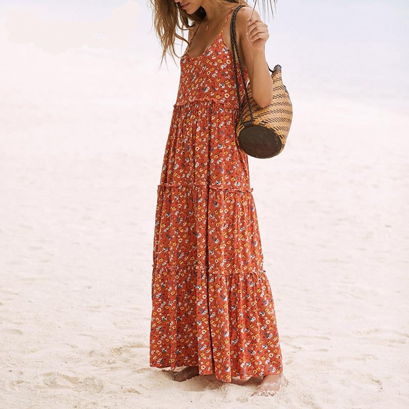 Nostalgia Boho Long Dress With Ruffles Beach Gypsy