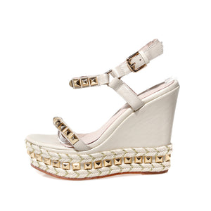 Nostalgia Boho Genuine leather wedges sandals Rivets high heels sandals