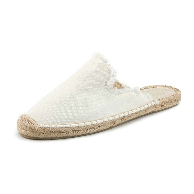 Nostalgia Boho  Linen Canvas Mule Shoes