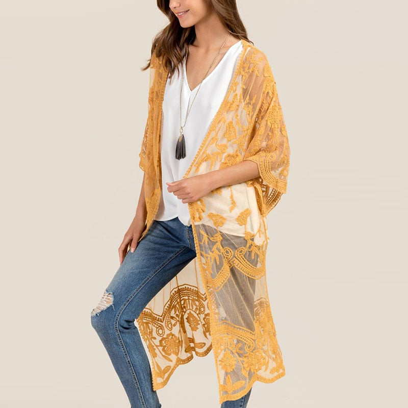 Nostalgia Boho  Yellow Kimono - Nostalgiastyles Clothing Store Co.
