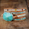Nostalgia Wrap Bracelet Amazonite Crystal 5 Strands Leather Strap Bracelets