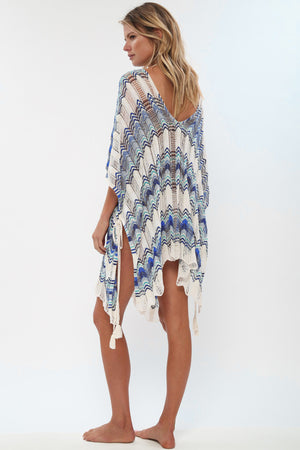 Nostalgia Boho Knit Beach Dress Hollow Out Colorful Large