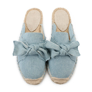 Nostalgia Boho Womens Flat Espadrille Mules Closed Toe Bow Tie Slip on