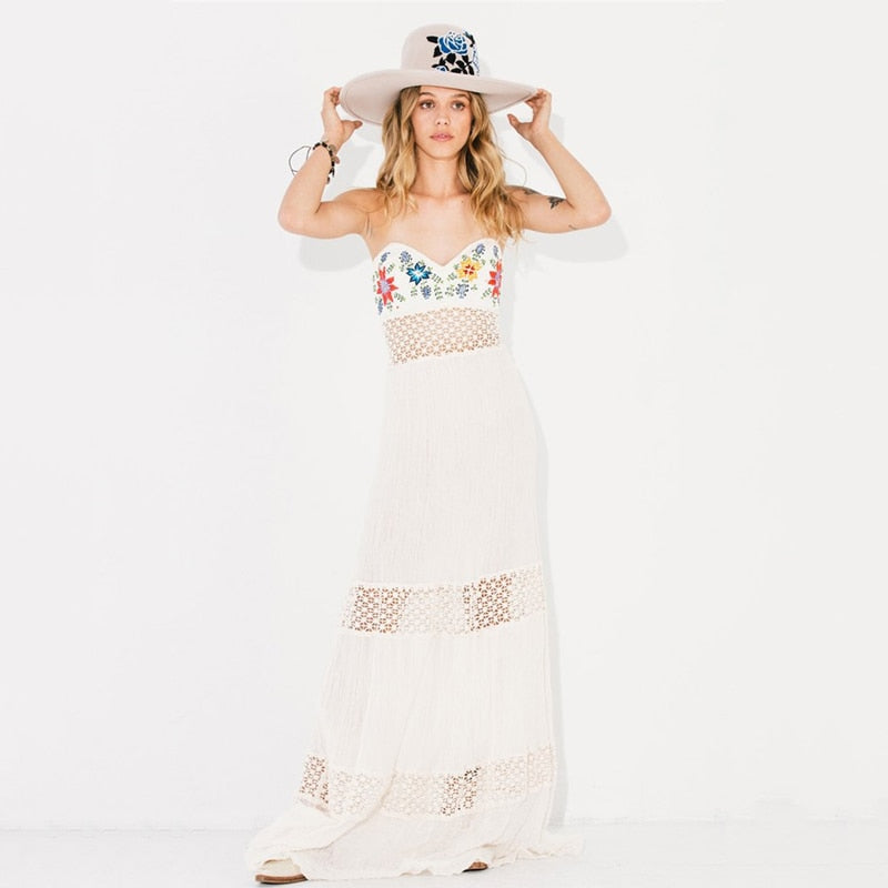 Gypsy Hippie High Quality Sexy Hollow Out Floral Embroidery Long Dress