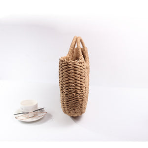 Nostalgia Boho  Bags Women Pompon Beach Weaving Ladies Straw Bag