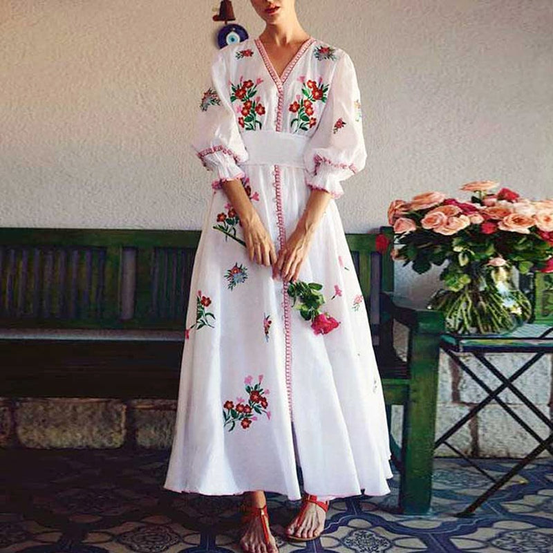 Nostalgia Boho white cotton dress vintage floral Embroidery