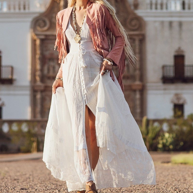 Nostalgia Boho Summer Embroidery Patchwork Women Dress V Neck