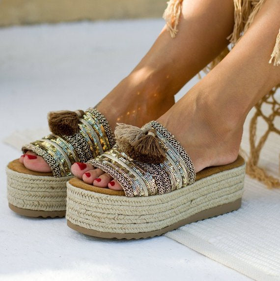 Nostalgia Boho Sandals woman outside cut slides Flat summer Fretwork Slides