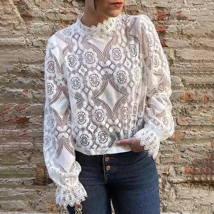 Nostalgia Boho Hollow out Lace Top Stand Collar Long Sleeve Floral Embroidery