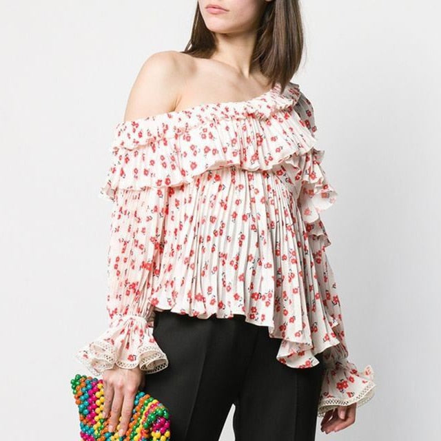 Nostalgia Boho  One Shoulder Floral Printed Top Tiered Ruffles