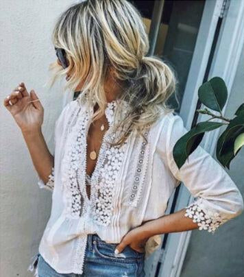 Nostalgia Boho  Floral Lace Sheer Long Sleeve Embroidery White Tee