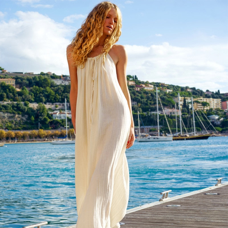 Nostalgia Bohemian Solid Color Maxi Dress Strapless Oversized Long Dress
