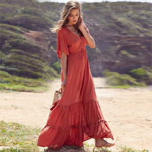 Nostalgia  Boho Rayon Dress V-neck Ruffles Sweet Maxi Dress