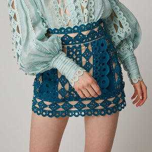 Nostalgia Boho Beading Patchwork Skirt For Women High Waist Slim Hollow Out