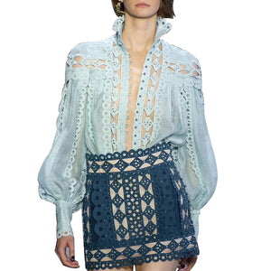 Nostalgia Boho Beading Patchwork Blouse Stand Collar Lantern Sleeve Hollow Out
