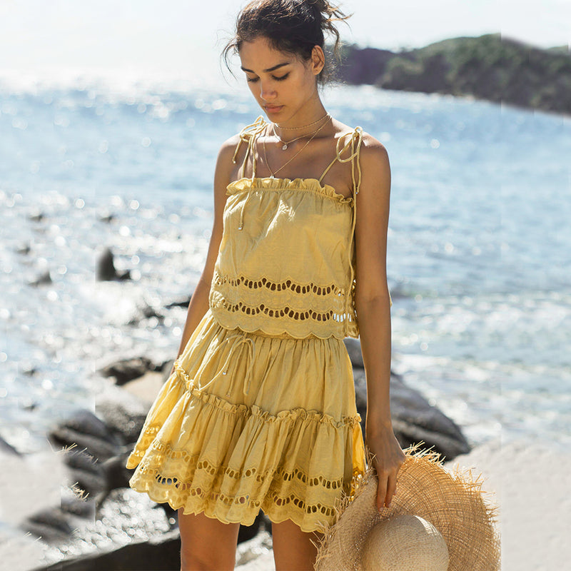 Nostalgia Boho mini dress yellow floral Embroidery cotton dresses 2pc