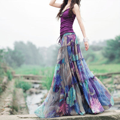 Nostalgia Gypsy   Boho High Waist Pleated Long Skirt