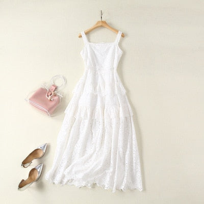 Nostalgia  Bohemian Beach Midi Dress White Hollow Out Spaghetti Strap