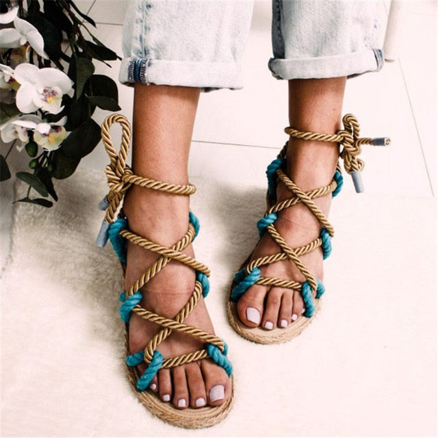 Nostalgia Boho Rome Stagger Hemp Rope Women Sandals
