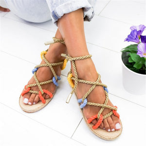 Nostalgia Boho Sandals Flat Hemp Rope Lace Up Gladiator