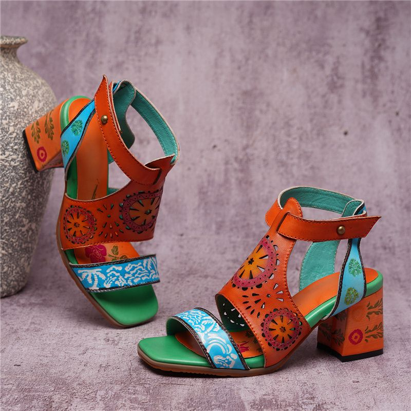 Nostalgia Boho design style high heels  genuine leather shoes
