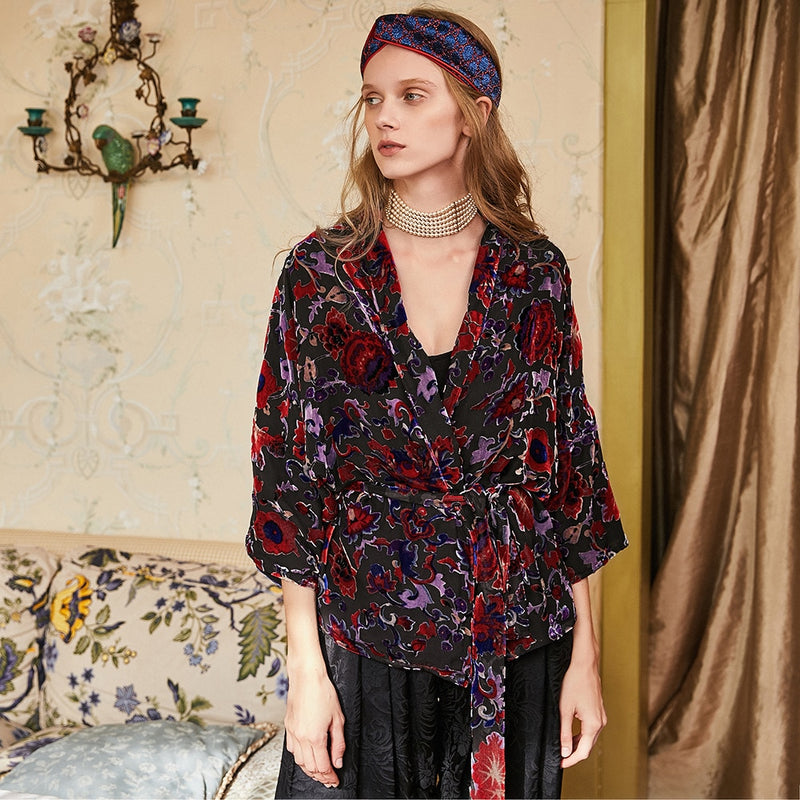 Nostalgia Boho  silk velvet rotten seven cent bat sleeve with cardigan