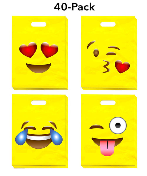 EMOJI PARTY FAVOR BAGS for Kids, Pack of 40