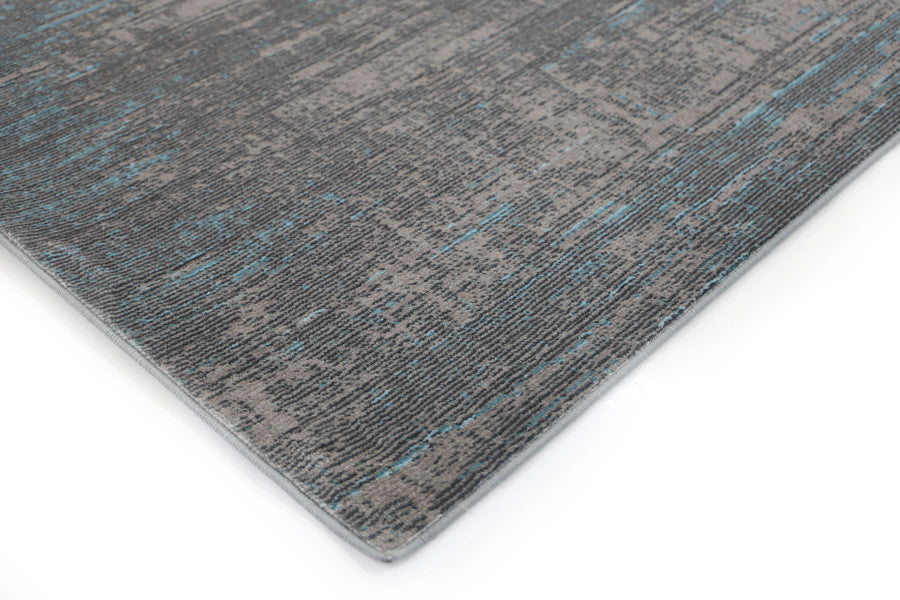 Aqua-Silk Abstract Grey Blue Rug