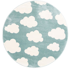 Piccolo Cloud Aqua White Rug